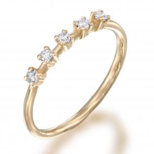 טבעת 5 יהלומים