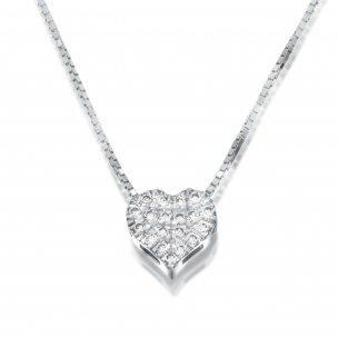 תליון לב פווה יהלומים