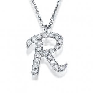 שרשרת אות R יהלומים