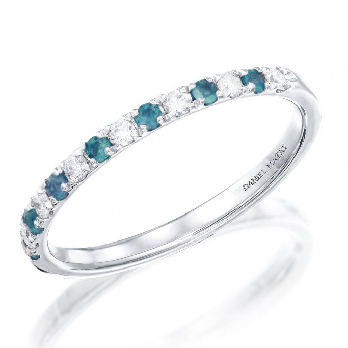 טבעת חצי נישואין יהלומים ואבני חן בלו טופז לונדון