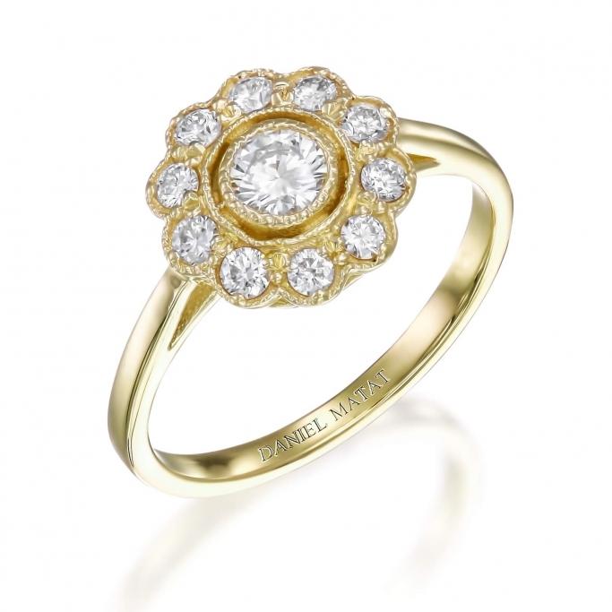 טבעת יהלומים וינטאג' פרח