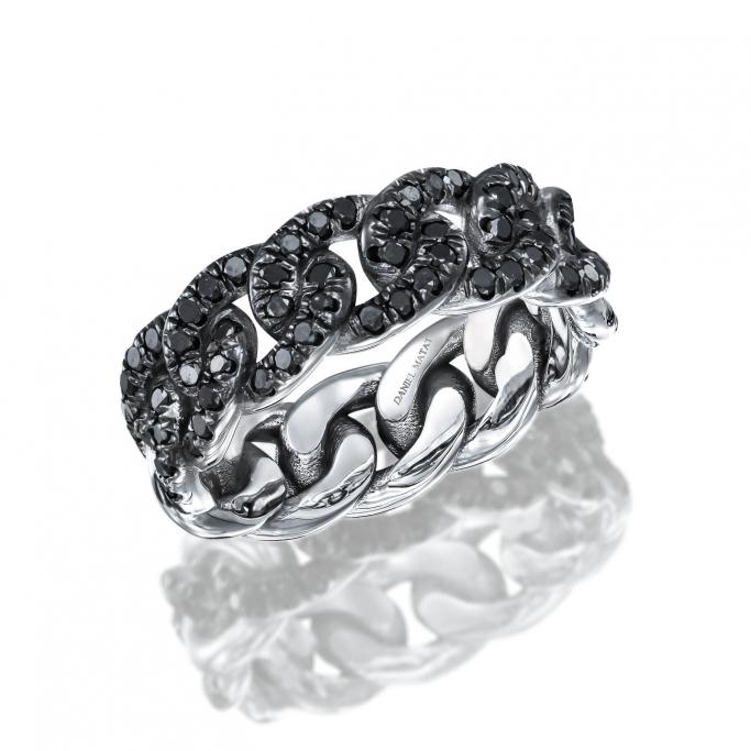 טבעת חוליות לגבר יהלומים שחורים