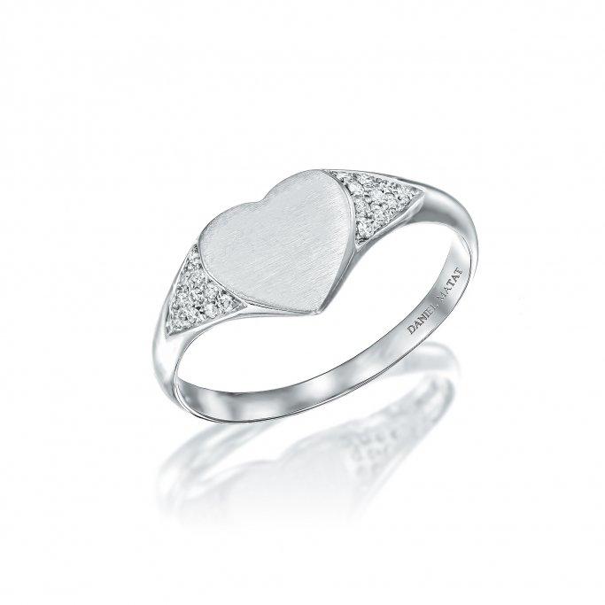 טבעת חותם לב יהלומים RZ151