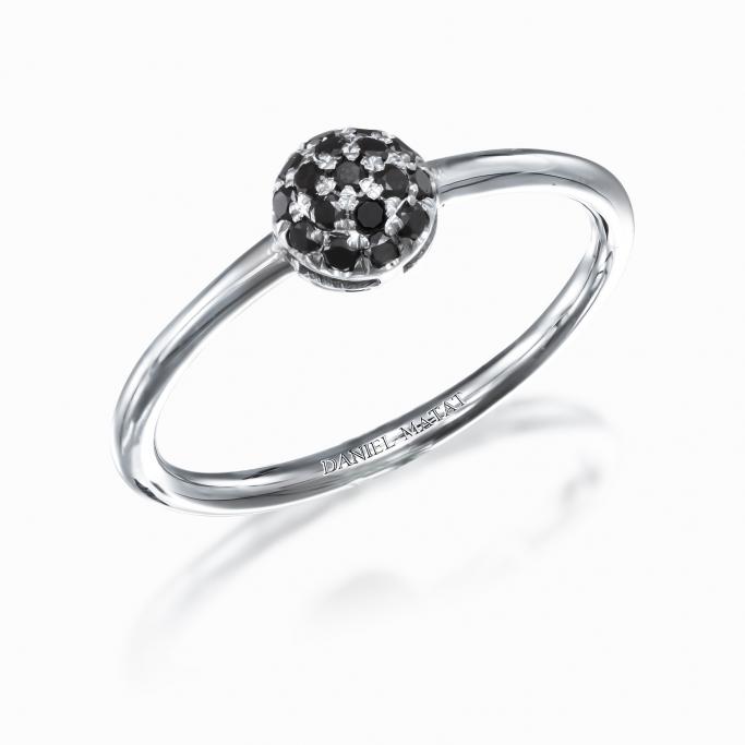 טבעת כיפה יהלומים שחורים