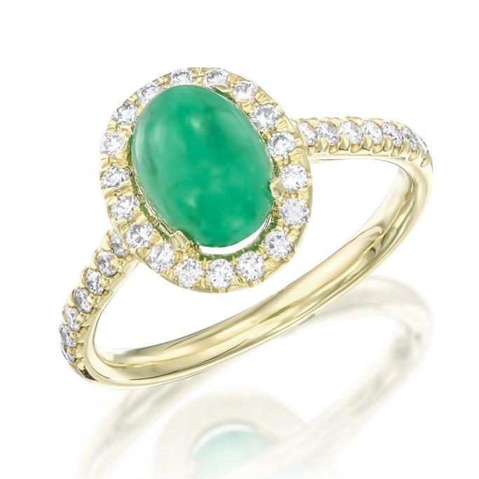 טבעת יהלומים אבן חן קפוצ'ון ירוק