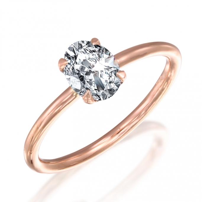 טבעת סוליטר יהלום אוול