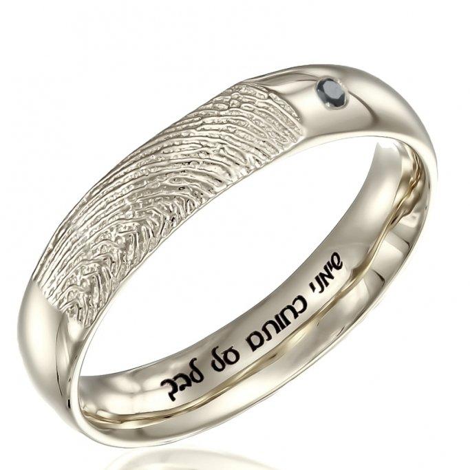 טבעת טביעת אצבע יהלום שחור