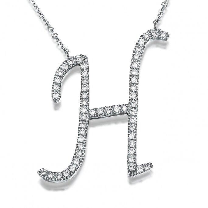 שרשרת אות H יהלומים  2.5cm