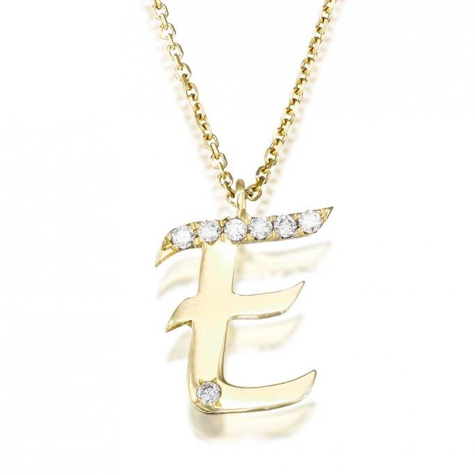 שרשרת אות E יהלומים
