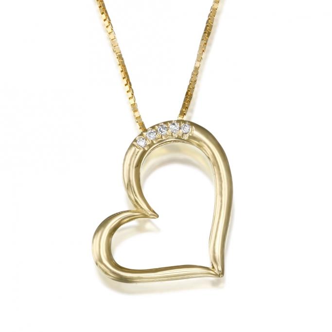 שרשרת לב יהלומים  L73