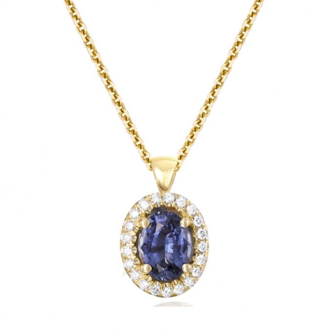 תליון יהלומים ואבן ספיר
