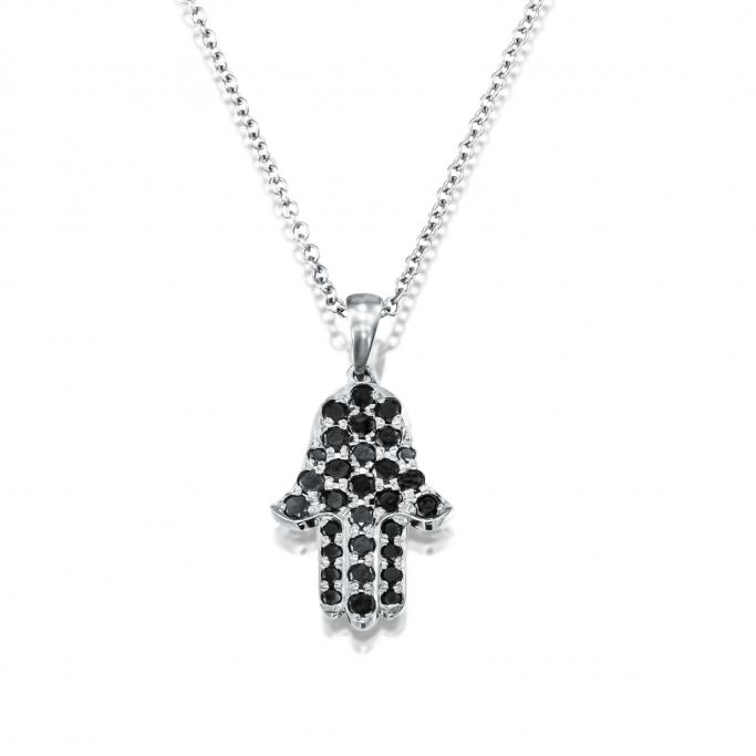 שרשרת חמסה יהלומים שחורים H27YB