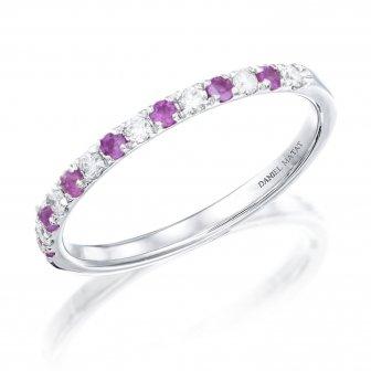 טבעת חצי נישואין יהלומים ואבני חן אמטיסט