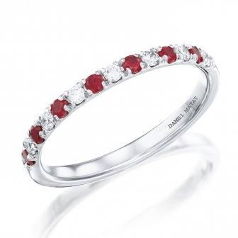 טבעת חצי נישואין יהלומים ואבני חן רובי