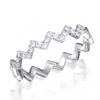 טבעת חצי נישואין  זיג זג יהלומים