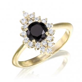טבעת יהלומים אבן שחורה