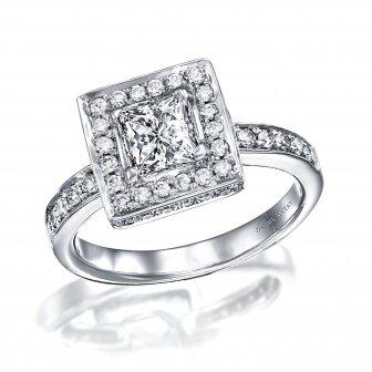 טבעת אירוסין יהלום פרינסס ויהלומים