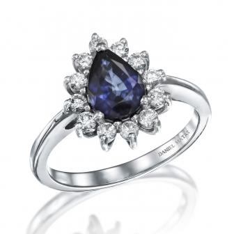 טבעת דיאנה יהלומים טיפה ספיר
