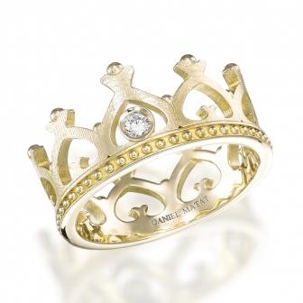 טבעת כתר יהלום זהב צהוב
