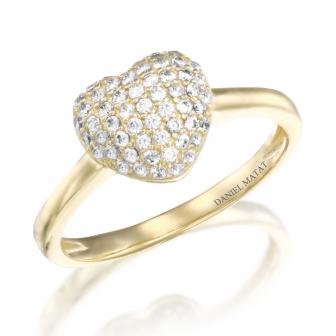 טבעת לב זרקונים GZ26