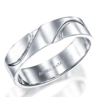 טבעת נישואין פס מעוקל