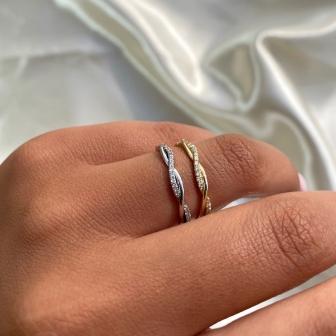 טבעת חצי נישואין צמה RX1H גרייס- Grace