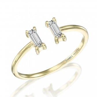 טבעת שני בגטים יהלומים