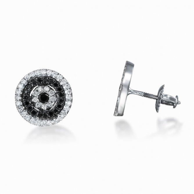 זוג עגילי יהלומים שחורים P50