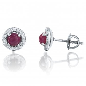 עגילי יהלומים אבן חן קפוצ'ון אדום
