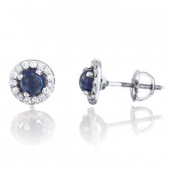 עגילי יהלומים אבן חן קפוצ'ון כחול