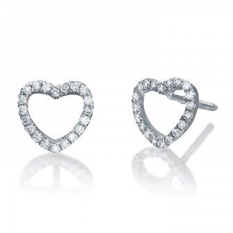 עגילי לב יהלומים RZ155