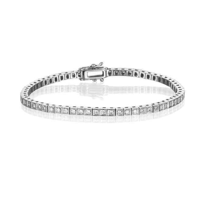 צמיד טניס יהלומים זהב לבן בעיצוב פרינסס