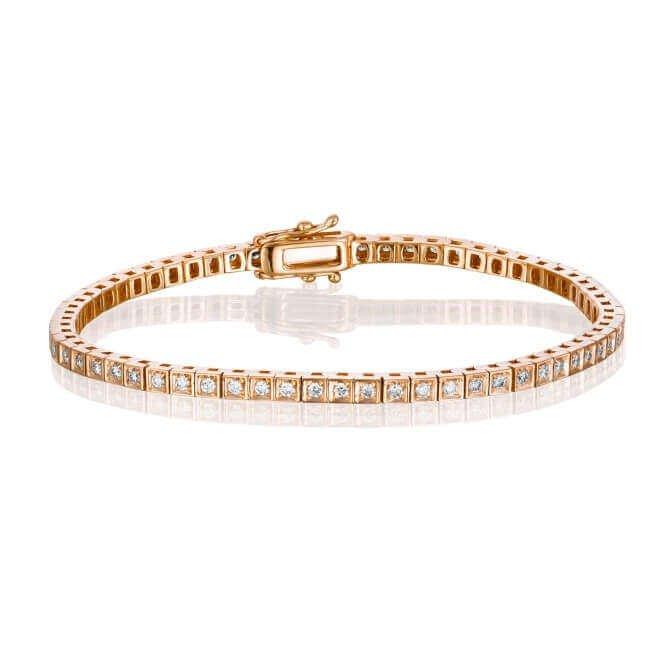 צמיד טניס יהלומים זהב אדום בעיצוב פרינסס