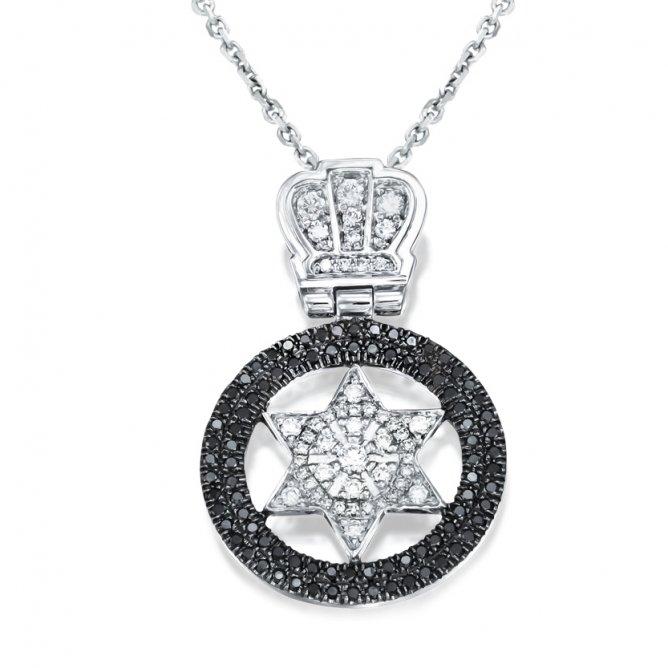 שרשרת כתר מגן דוד יהלומים