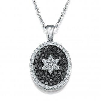 שרשרת מגן דוד אוולי יהלומים שחורים M49