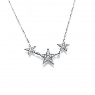 שרשרת שלושה כוכבים יהלומים P214