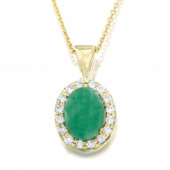 שרשרת תליון יהלומים אבן חן קפוצ'ון ירוק