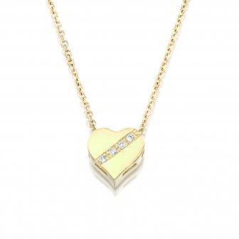 תליון לב פס יהלומים