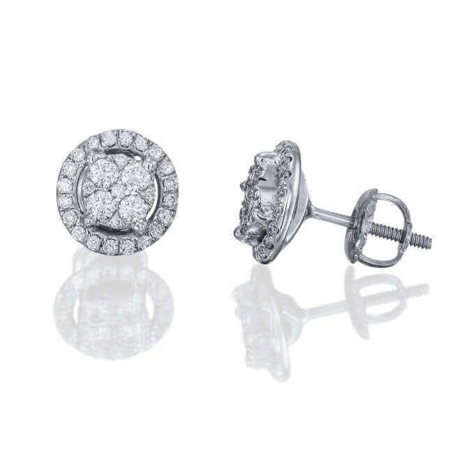 עגילי שנדליר משובצים יהלומים