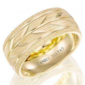 טבעת נישואין עלים חריטה