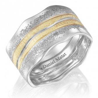 טבעת נישואין מט פטיש שני צבעים