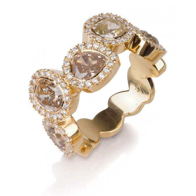 טבעת יוקרה משובצת יהלומים ואבני חן