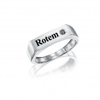 טבעת חריטה יהלום שחור RZ145